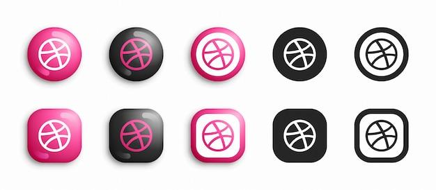 Dribbble 3d moderno e set di icone piatte