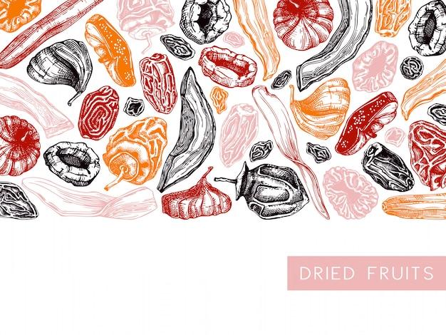 Cornice di frutta secca e bacche. frutta disidratata vintage nel modello di colore. delizioso dessert salutare: mango essiccato, melone, fico, albicocca, banana, cachi, datteri, prugna secca, uva passa.