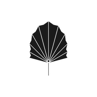 Siluetta di foglia di palma secca in stile semplice. emblema di boho foglia tropicale di vettore. illustrazione floreale per creare logo, motivi, stampe di t-shirt, tatuaggi, post sui social media e storie