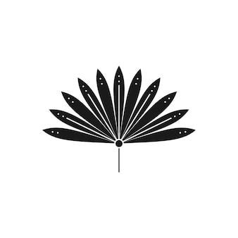 Siluetta di foglia di palma secca in stile semplice. emblema di foglia tropicale di vettore. illustrazione boho per creare logo, motivi, stampe di t-shirt, design di tatuaggi, post sui social media e storie