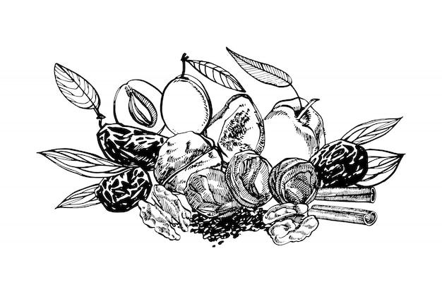 Pesche e prugne secche, illustrazione disegnata a mano delle prugne
