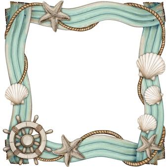 Cornice di legni con stelle marine e conchiglie