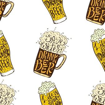 Bere birra disegnata a mano lettering senza cuciture octoberfest amanti della birra senza cuciture texture vettoriale il...