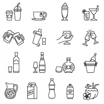 Set di icone di bevande e bevande. calcio stile linea sottile.