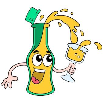 Le bottiglie della bevanda stavano banchettando con il vino soda, arte dell'illustrazione vettoriale. scarabocchiare icona immagine kawaii.