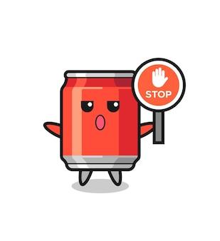 Lattina per bevande illustrazione del personaggio con un segnale di stop, design in stile carino per t-shirt, adesivo, elemento logo