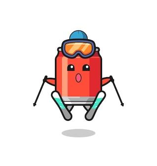 Bere può personaggio mascotte come giocatore di sci, design in stile carino per t-shirt, adesivo, elemento logo