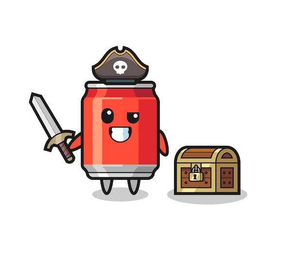 La bevanda può piratare il personaggio che tiene la spada accanto a una scatola del tesoro, design in stile carino per maglietta, adesivo, elemento logo