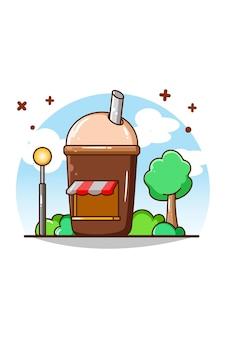 Illustrazione del fumetto della caffetteria e della bevanda