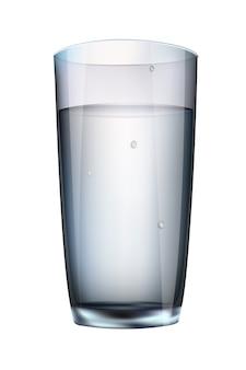 Bere un bicchiere di latte bianco su uno sfondo bianco