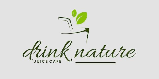 Bevi il logo del biglietto da visita del modello di vettore di progettazione del logo dell'erba della natura