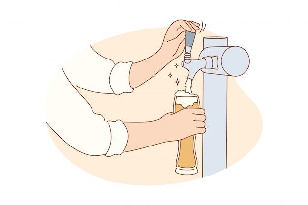 Bere vita notturna alcol lavoro concetto di lavoro