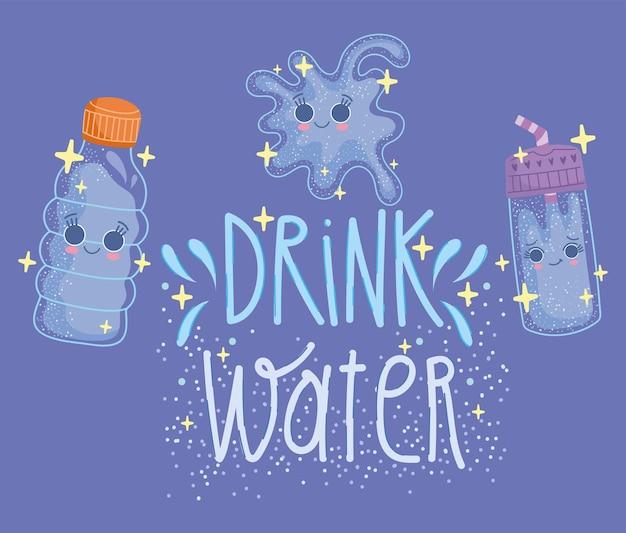 Bere acqua cartone animato