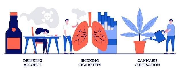 Bere alcolici, fumare sigarette, concetto di coltivazione della cannabis con persone minuscole. insieme dell'illustrazione di vettore dell'estratto di dipendenza dell'alcol. dipendenza da nicotina, metafora della coltivazione della marijuana.