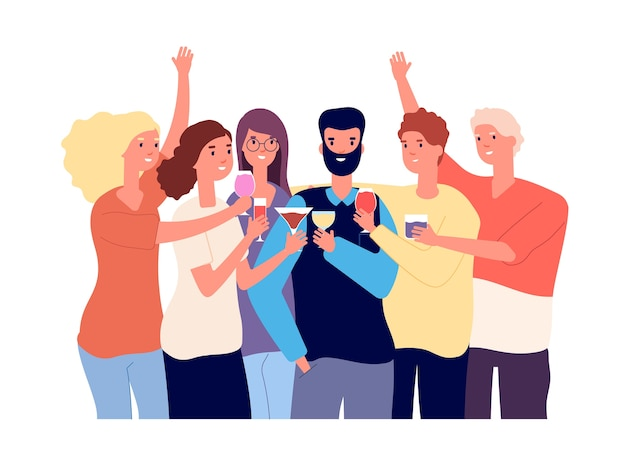 Bere amici. un gruppo di ragazzi divertenti tintinnano bicchieri con bevande alcoliche e fanno toast. celebrazione piatto concetto.