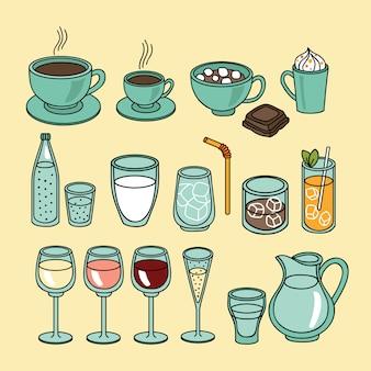 Set di icone di bevande e bevande