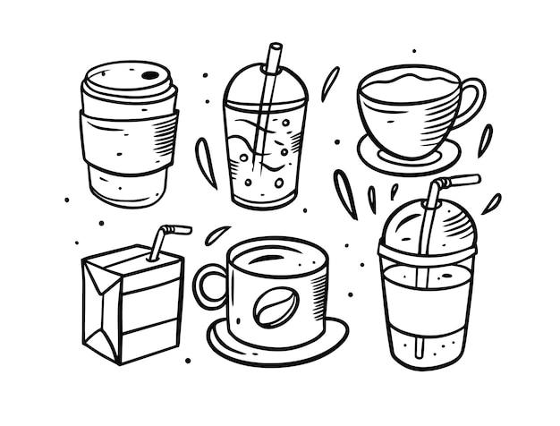 Set di colori nero disegnato a mano di bevande isolato su bianco