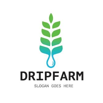 Logo dell'acqua della fattoria a goccia
