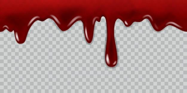 Sangue gocciolante. liquido rosso corrente, flusso di vernice e gocce per halloween, gioco di vampiri, volantino di medicina, donatore di sangue o banner web modello realistico di vettore senza soluzione di continuità su sfondo trasparente