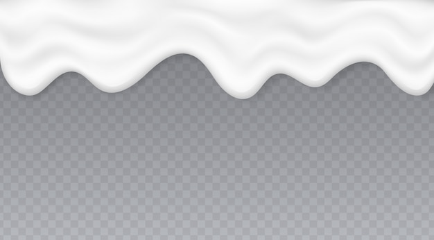 Spruzzata cremosa del liquido, yogurt o spruzzata del gelato fuso, flusso bianco della crema isolato su fondo trasparente.