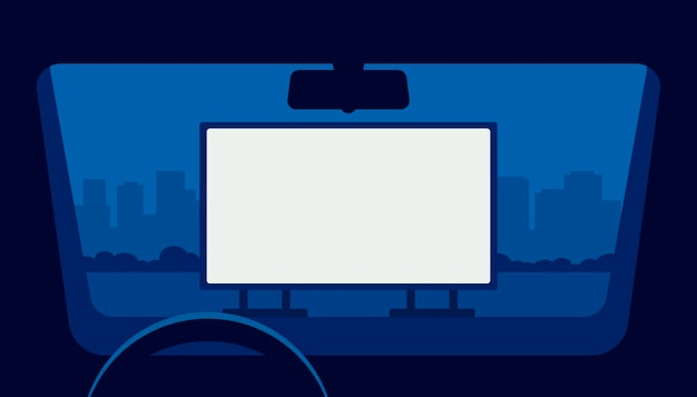 Drive cinema, cinema auto, teatro auto. vista dalla finestra auto nel parcheggio all'aperto di notte.