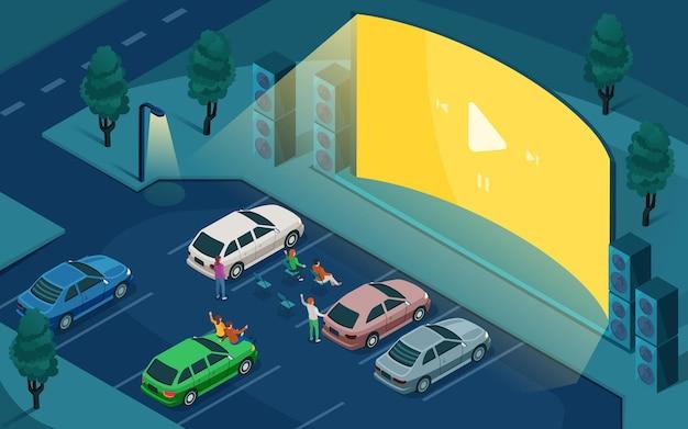 Drive cinema, cinema all'aperto per auto, design isometrico