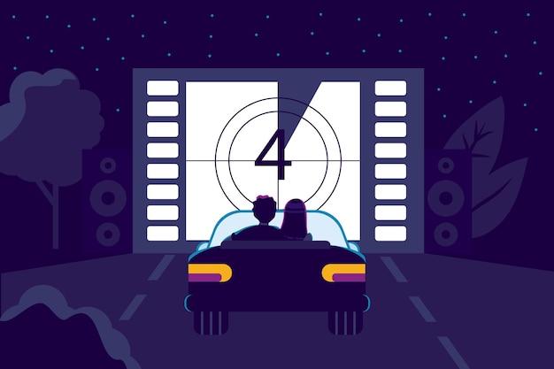 Cinema drivein con parcheggio all'aperto in stile piatto film che guardano cinema all'aperto in città di notte