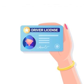 Carta di patente di guida con foto su sfondo bianco. documento di identità per la guida di auto.