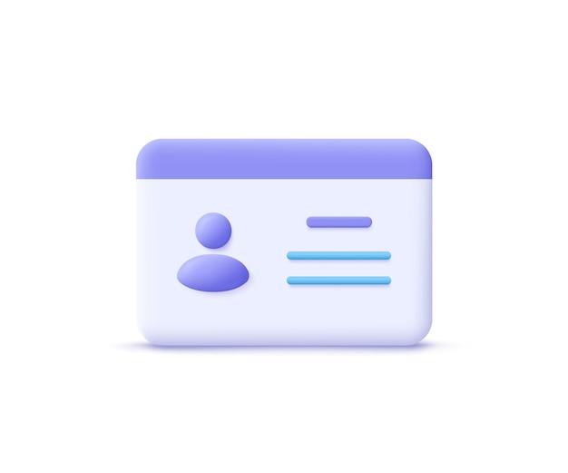 Patente di guida, carta d'identità, carta di plastica, icona del badge. illustrazione vettoriale 3d. Vettore Premium