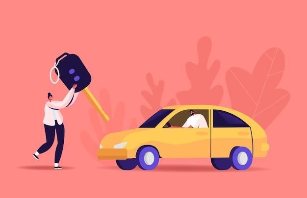 Illustrazione della patente di guida. piccola donna porta una chiave enorme, uomo seduto in automobile