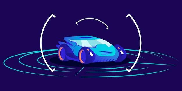Illustrazione a colori di auto senza conducente. trasporto autonomo futuristico, automobile a guida autonoma su sfondo blu. interfaccia intelligente del sistema di rilevamento dei trasporti, concetto di showroom virtuale