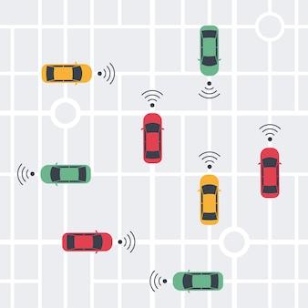Smart car senza conducente, auto con pilota automatico con onde wireless e mappa della città. vista dall'alto