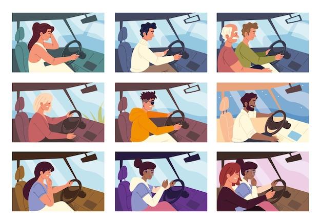 Personaggio dei conducenti in auto