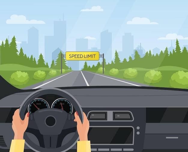 Guida del concetto di sicurezza dell'auto cruscotto all'interno dello sfondo di vista interna dell'auto