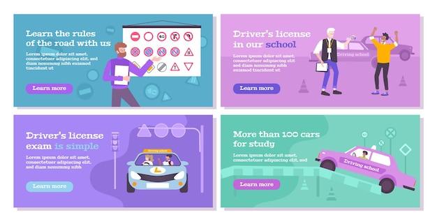 Icone di concetto di scuola guida impostate con simboli di regole piatto isolato
