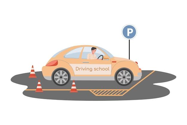 Illustrazione piana della scuola guida uomo alla guida di auto e preparazione