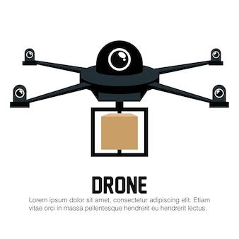 Grafico nero della scatola di consegna del drone