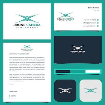 Logo della fotocamera drone con biglietto da visita