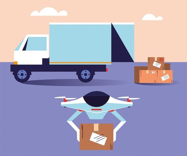 Drone trasporta scatole dal camion delle consegne