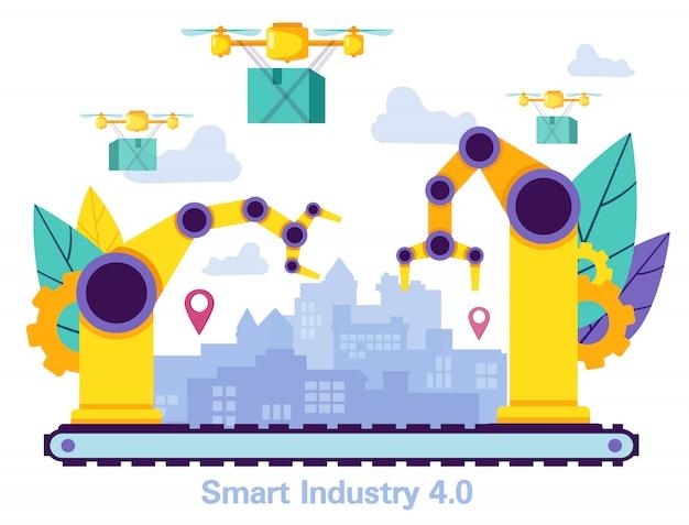 Drone delivery cargo in city. smart idustry.vector Vettore Premium