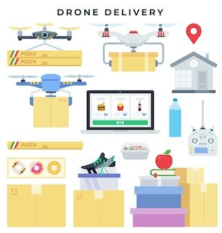 Concetto di consegna del drone, insieme di elementi