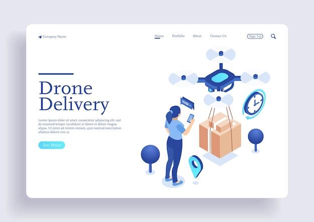 Drone consegna concetto illustrazione vettoriale drone che sorvola una mappa e trasporta un pacchetto