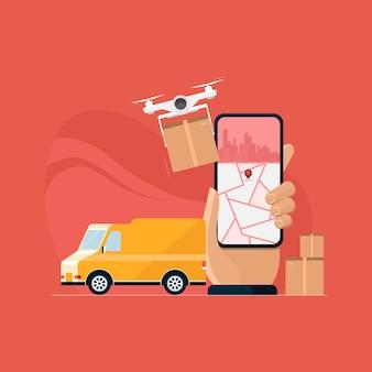 Consegna con drone e concetto di business e-commerce furgone con servizio di corriere