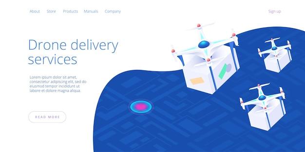 Concetto di servizio di consegna drone in illustrazione isometrica