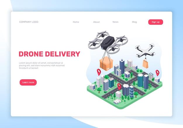 Concetto di servizio di consegna di droni con quadricotteri volanti e pagina di destinazione della mappa della città