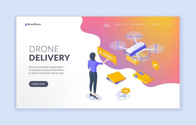 Modello di pagina di destinazione del servizio di consegna di droni