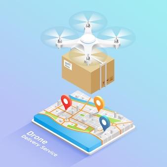 Tecnologia del servizio di consegna con drone con scatola