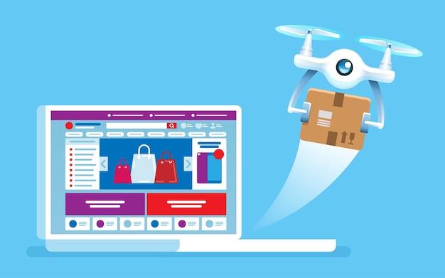 Drone vola fuori dallo schermo del laptop negozio in linea di consegna di concetto