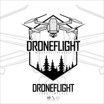 Drone volo logo modello pronto formato eps 10