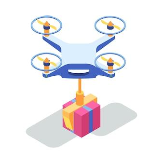 Drone volante con scatola di cartone.